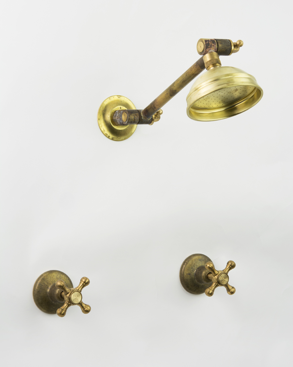 Roulette Adjustable Shower Set in Raw Brass with Engraved Button Upgrade