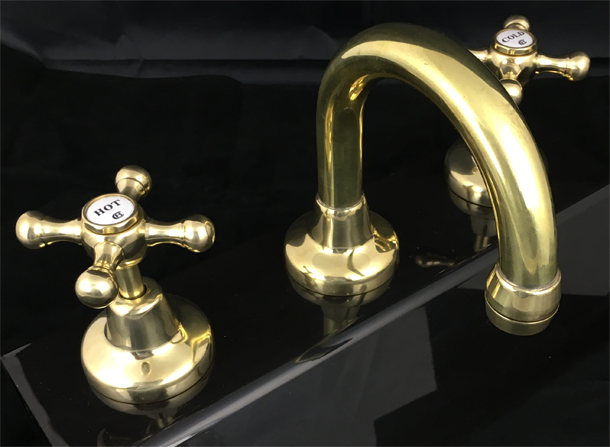 RU4011PP Roulette Basin Set with Fixed Gooseneck Outlet in Polish to Plate Finish