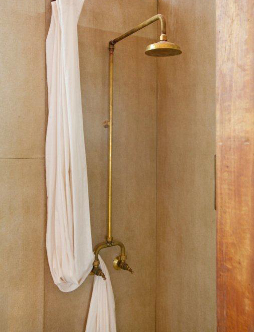 RU9599RB Roulette Alcove Shower Set in Raw Brass Finish with T Handles