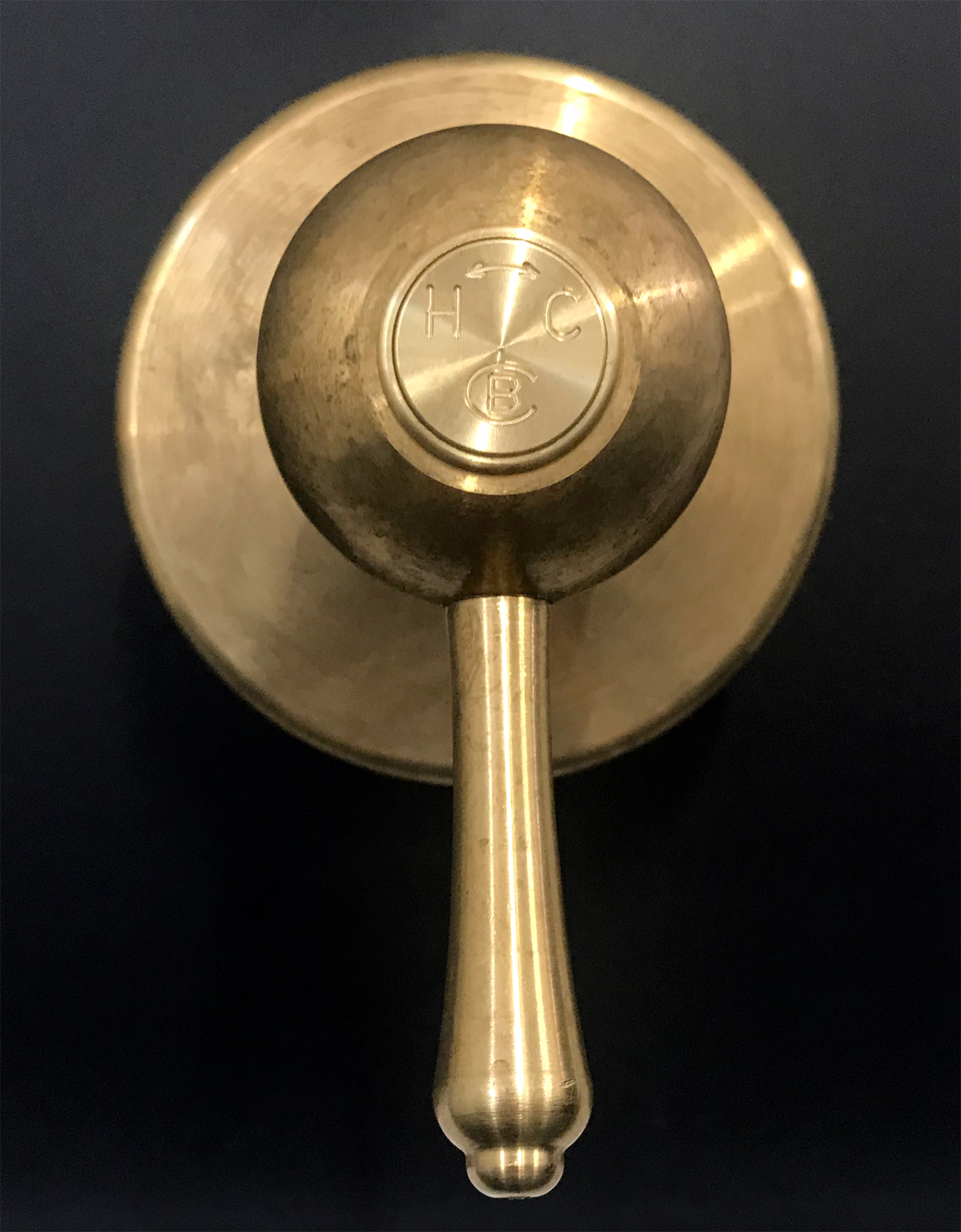 Roulette Lever Wall Mixer in Raw Brass finish with Engraved Button Upgrade