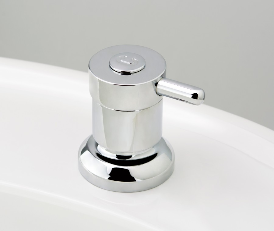 Torrens Lever Basin Top Assembly in Chrome Plate with Engraved Button Upgrade