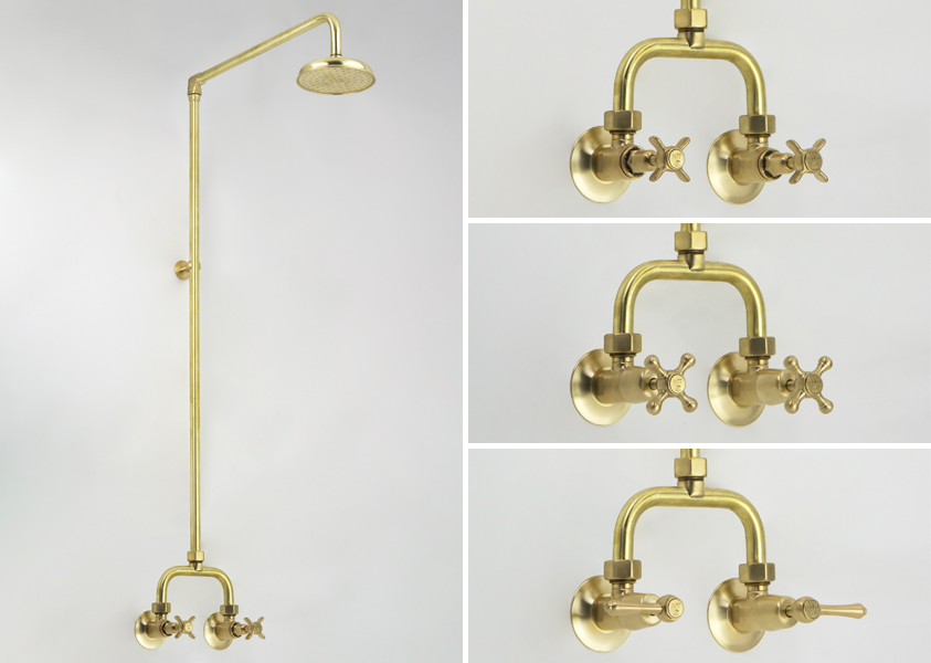 Alcove Shower Sets in Lea Wheeled Brass with Engraved Buttons