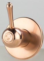 Roulette Lever Wall Mixer in Dull Copper Finish with Engraved Button Upgrade